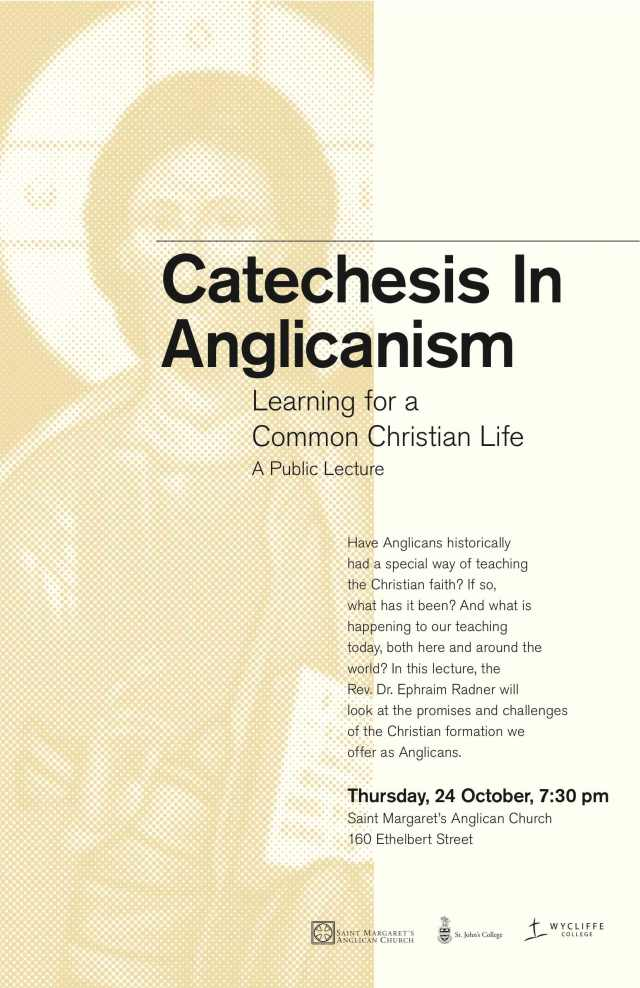 Ephraim Radner lecture, Catechesis in the Anglican Tradition