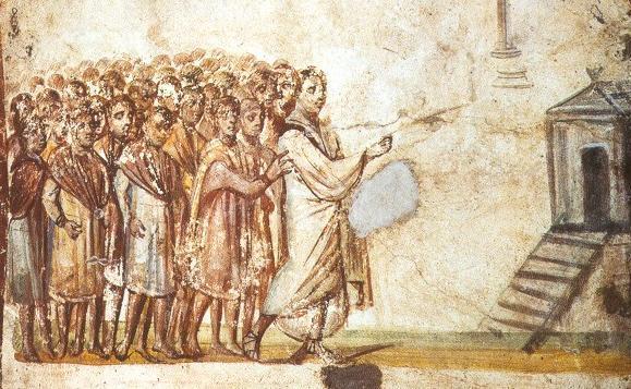Lazarus, Catacomb fresco