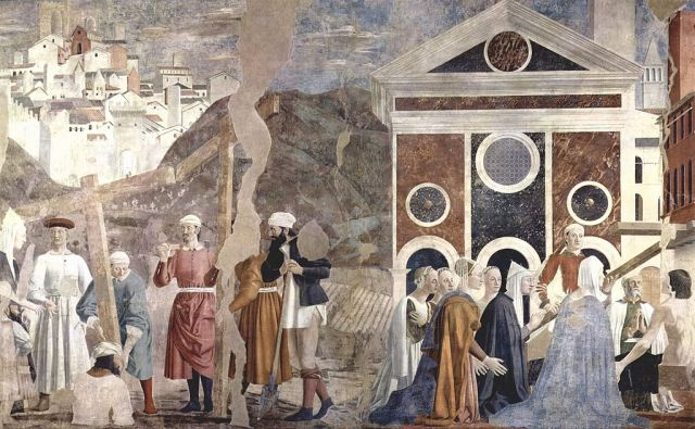Holy Cross, The three crosses are discovered. An injured young man is healed by the True Cross. 15th-century frescoes at the Church of San Francesco, Arezzo by Piero della Francesca.