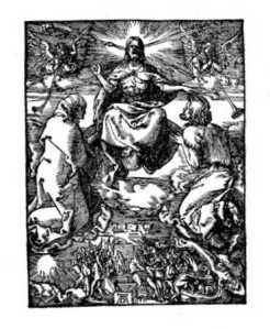 Son of Man coming in clouds, Durer woodcut