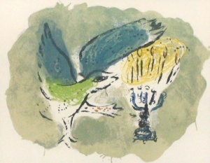 Hanukkah, menorah and dove, Chagall