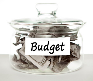 Budget, money in a jar